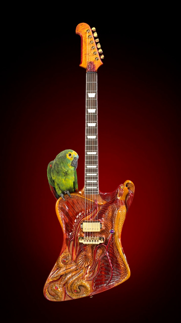 Custom Hand Carved FireBird Guitar with Parrot  Studio Photography